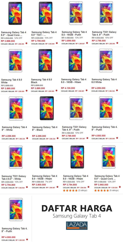 """Harga Samsung Galaxy Tab 4 - 8.0"""""""