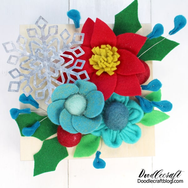 Felt flowers can be used for hair clips, headbands, gift bows, a wreath or Christmas tree ornaments.