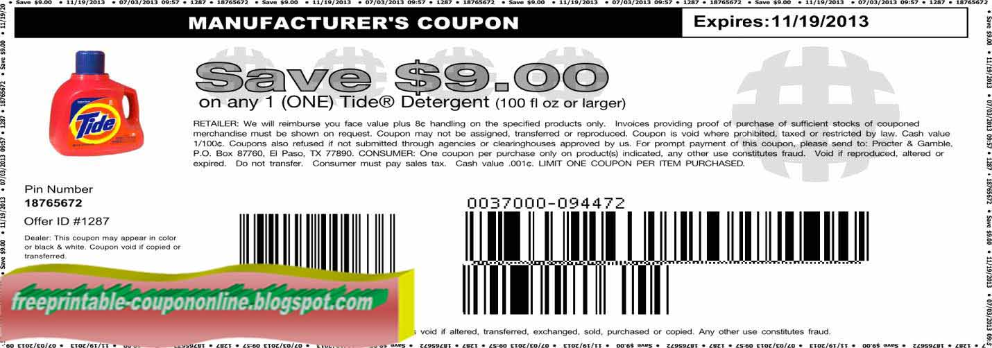 Tide manufacturer coupons october 2018