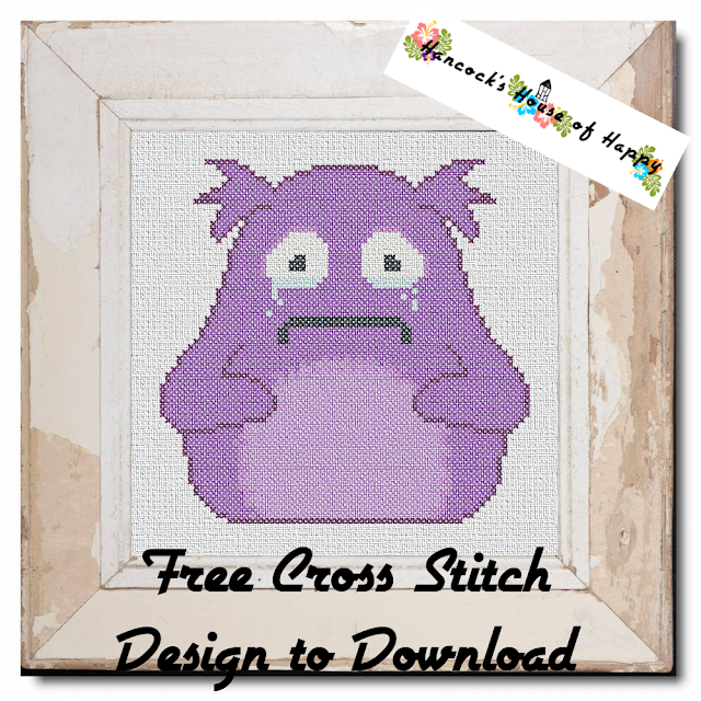Mental Health Monsters Week! The Dread Monster! Purple Fluffy Monster Cross Stitch Pattern to Download