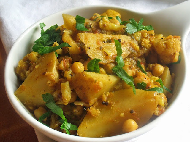 aloo gobi with plump chickpeas