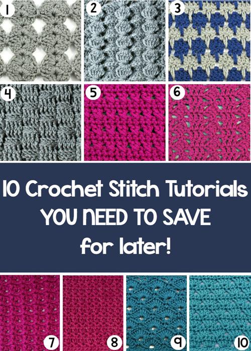 Ten Crochet Stitch Tutorials