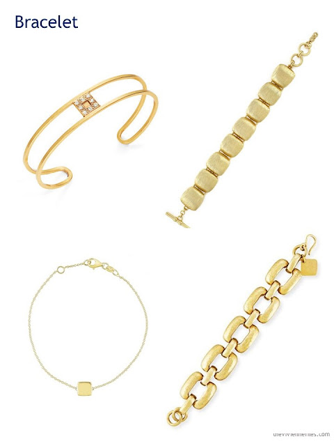 four gold bracelets with square detailing