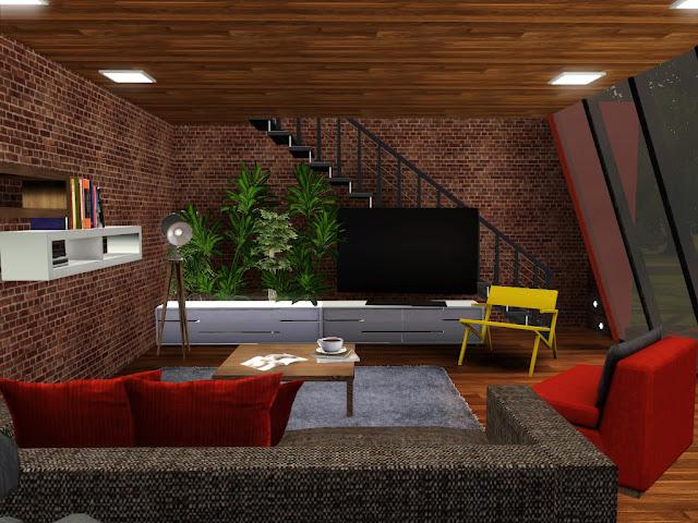 Salon briques rouge sims 3
