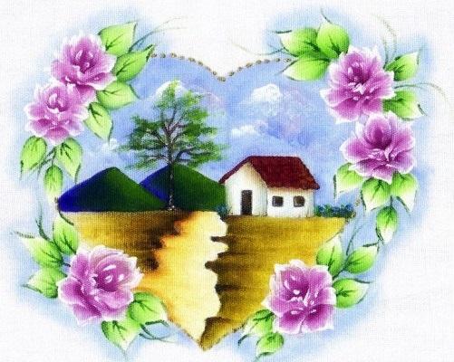 pintura em tecido paisagem e flores