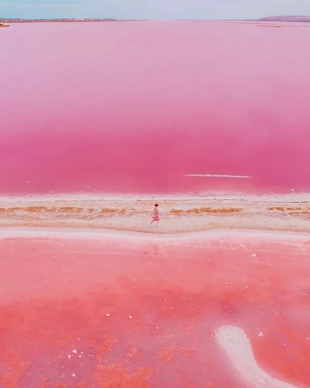 The picturesque pink lake in Australia