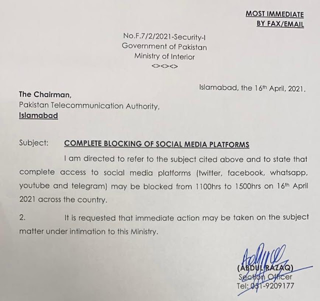Pakistan Temporarily Bans All Social Media Apps and Sites