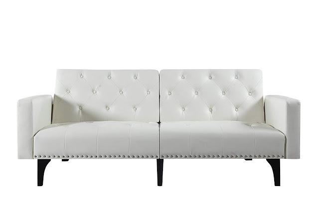 white leather tufted  love seat sofa