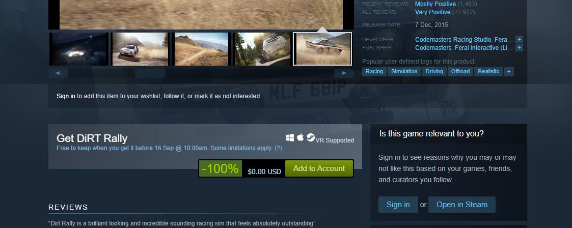 لعبة DiRT Rally متاحة مجانا على Steam ... أضفها الآن !