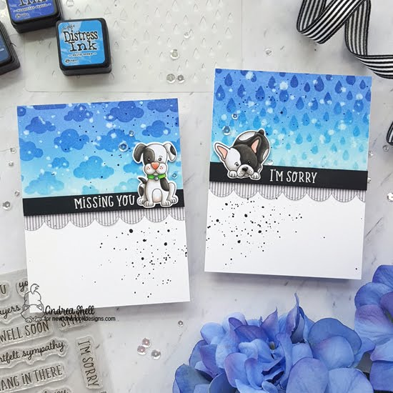 Missing You and I'm Sorry Puppy Cards by Andrea Shell | Puppy Playtime Stamp Set, Heartfelt Essentials Stamp Set, Cloudy Sky Stencil, Raindrops Stencil and Sky Borders Die Set by Newton's Nook Designs #newtonsnook #handmade