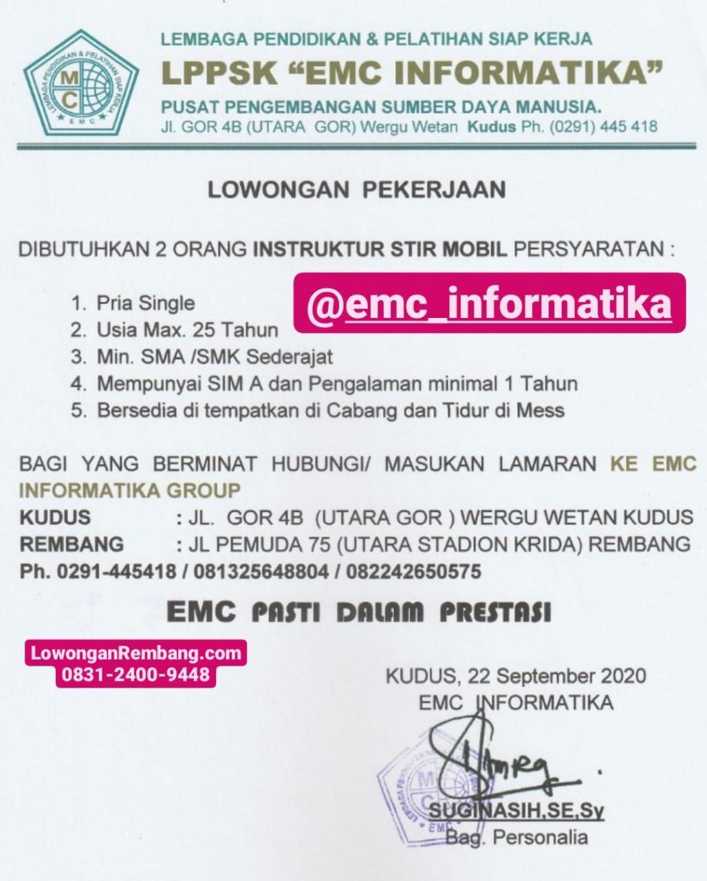 Segera Lamar Lowongan Kerja Instruktur Stir Mobil EMC Informatika Rembang