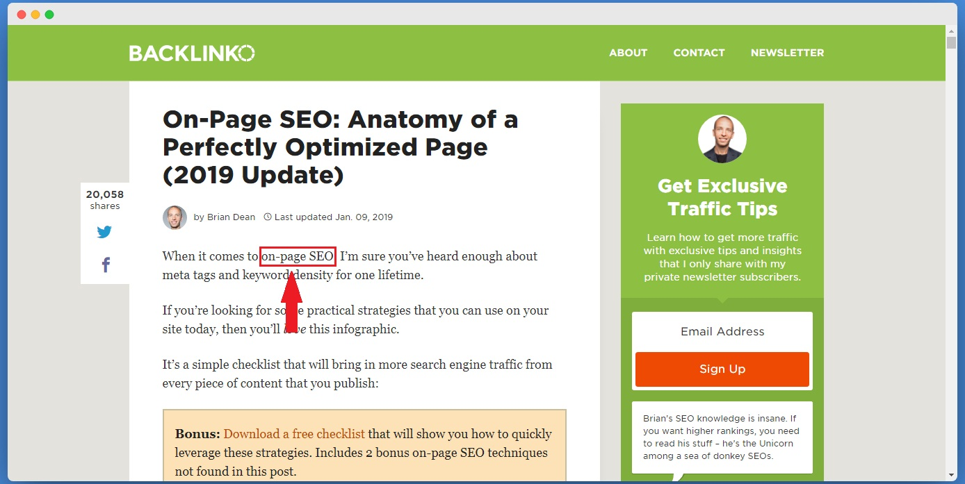 Keyword in Post Content