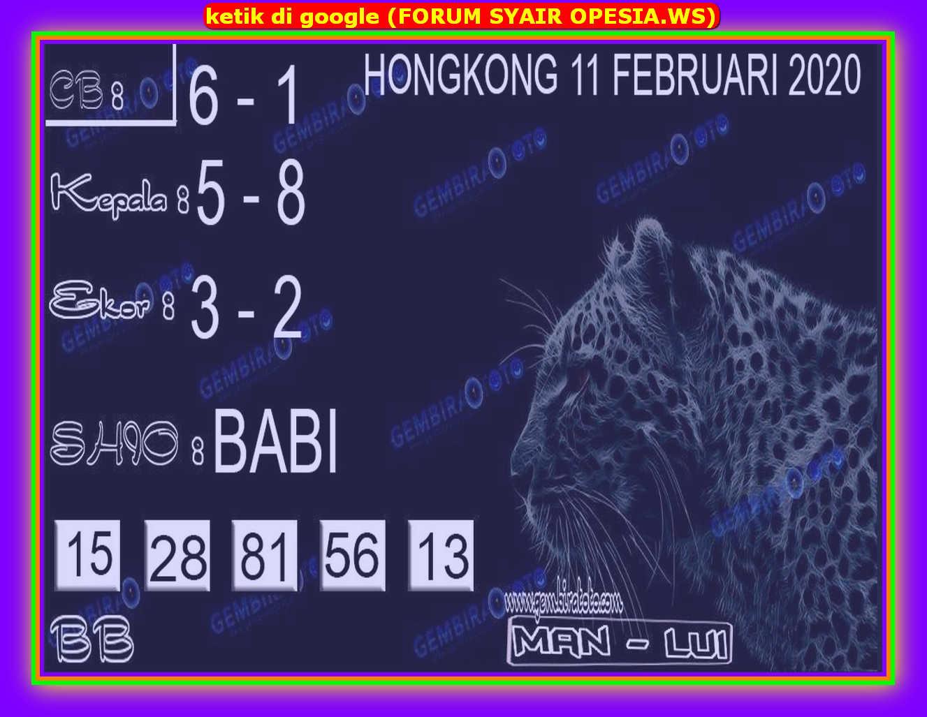 Kode syair Hongkong Selasa 11 Februari 2020 121
