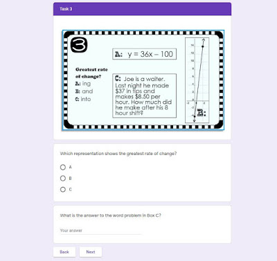 Slope Task Cards Mystery Message digital task cards