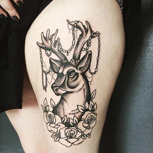 üst bacak geyik dövmesi bayan thigh deer tattoo for women
