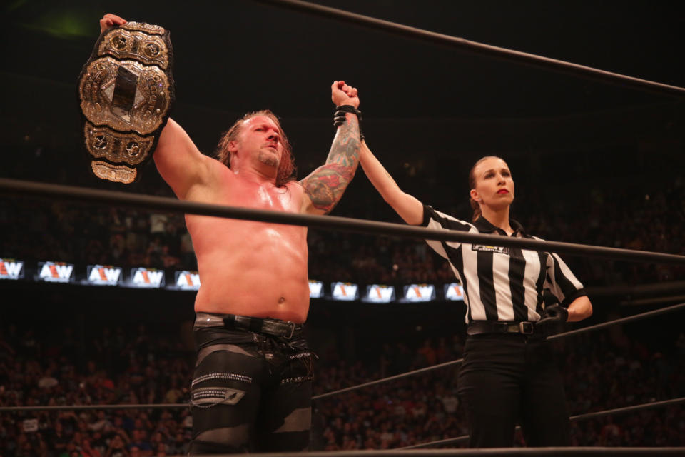 American-Canadian professional wrestler Chris Jericho makes history and adds another championship to his collection by becoming the first AEW champion.