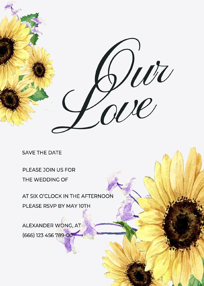 Creative High Exquisite Watercolor Art Sunflower Wedding Invitation