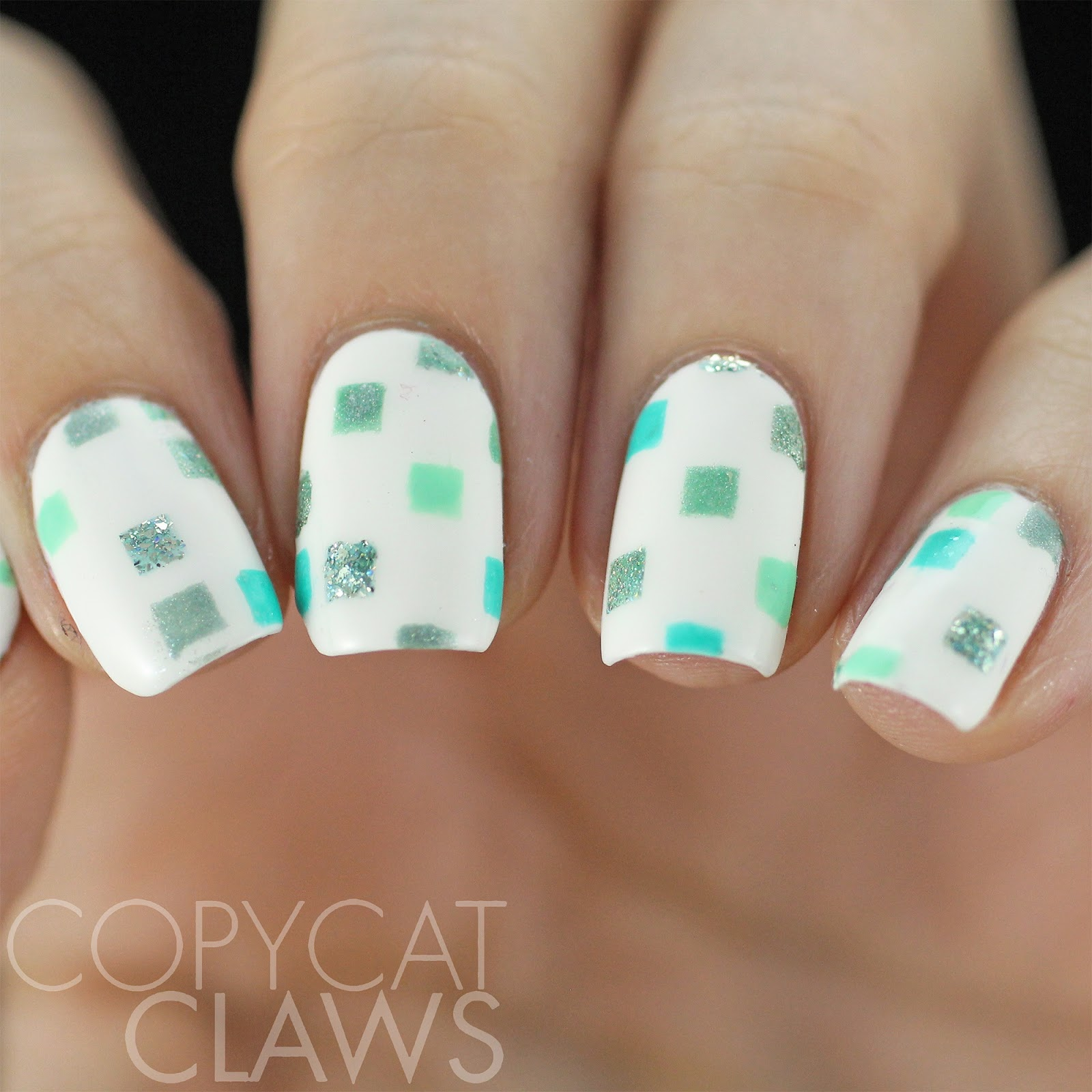 Copycat claws 40 great nail art ideas mint green for my white base i used kbshimmer eyes white open once that was dry i applied the vinyls and filled in a few of the squares with a dotting tool prinsesfo Gallery