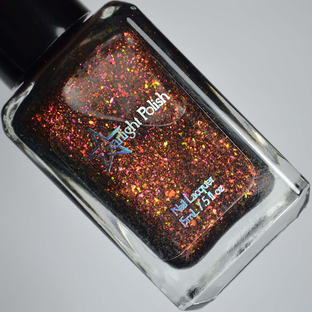 rainbow color shifting nail polish in a bottle