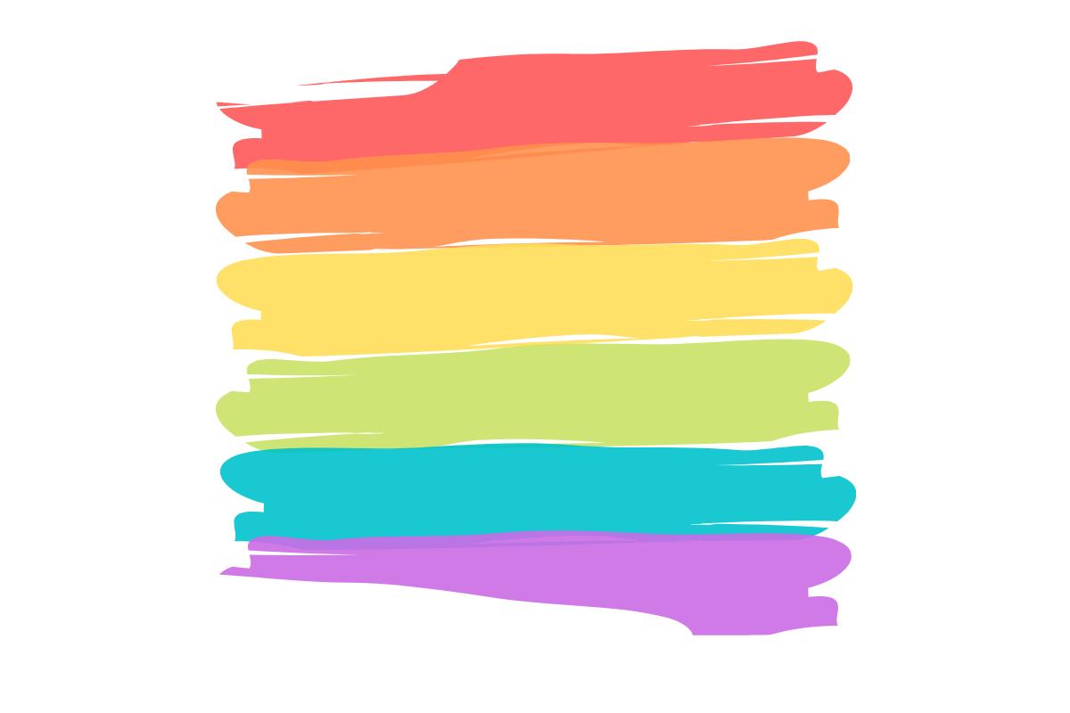 Regenboogvlag getekend met verfstrepen op een witte achtergrond.
