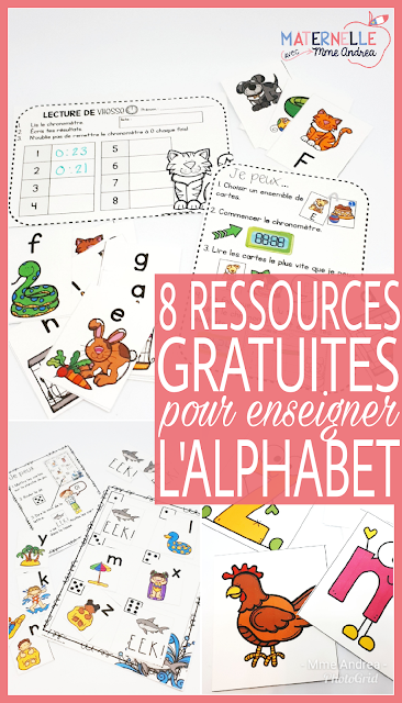 8 FREE French resources to help you encourage your kindergarten students to learn and practice the alphabet. Fun, free ways to practice letter names and sounds!