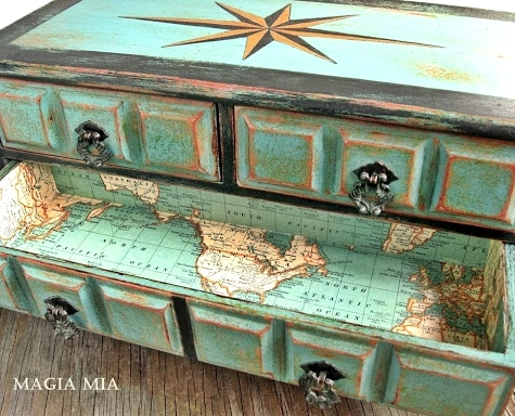 Nautical Dresser with Compass Rose Design