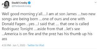 David Crosby tweet June 1, 2020