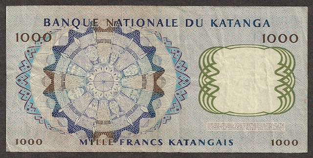 Africa money currency 1000 Katangese francs bill