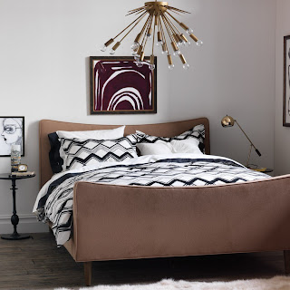 gray and black chevron bedding