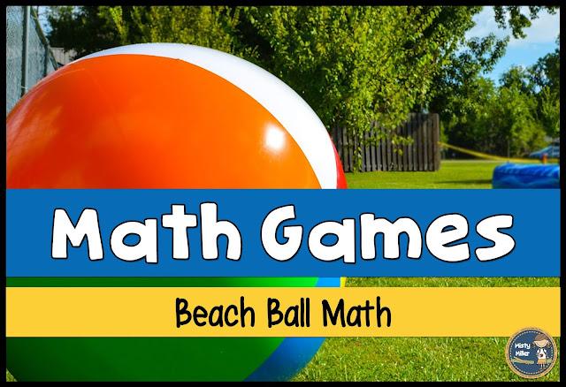 beach ball math, math review, math game