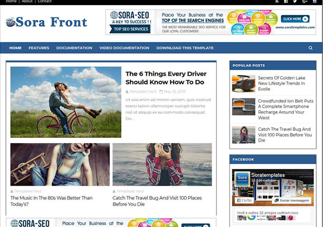 Sora Front Blogger Template, Free Blogger Templates, Sora Front Blogspot Theme, Blogger Theme, Templates Go, Simple Blogger Theme, ad ready theme