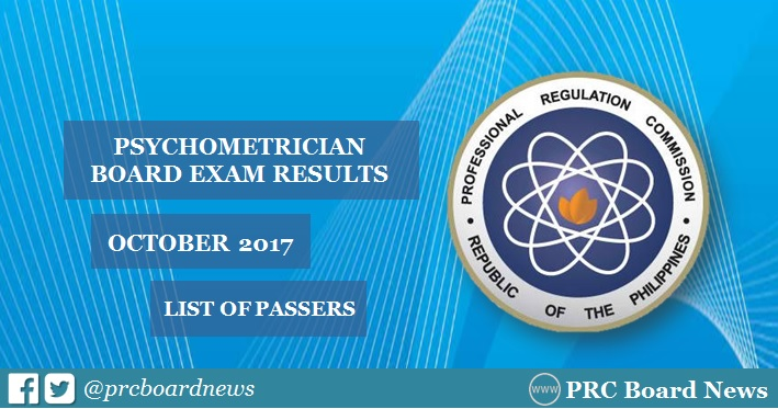 October 2017 Psychometrician board exam list of passers