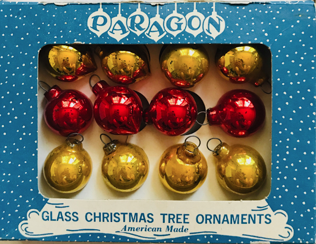 Paragon Glass Works of Elizabeth NJ small box of ornaments