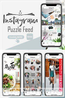 Instagram puzzle feed grid, Stylish instagram puzzle feed, instagram puzzle feed in photoshop layout