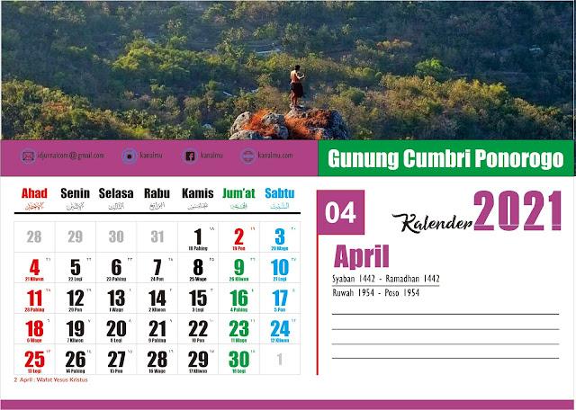 Kalender 2021 Bulan April