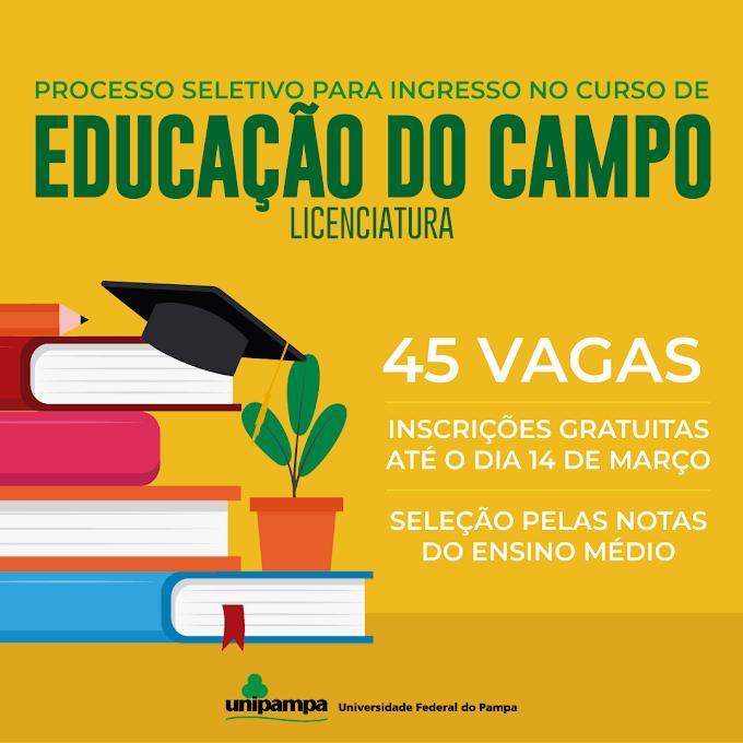 Unipampa lança processo seletivo específico para ingresso no curso de Educação do Campo - Licenciatura