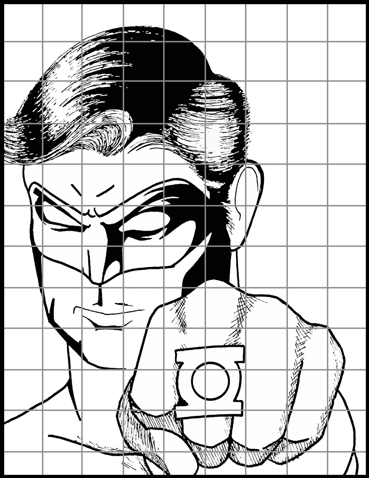 Mr Mintart Superhero Grid Drawing