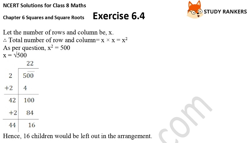NCERT Solutions for Class 8 Maths Ch 6 Squares and Square Roots Exercise 6.4 21