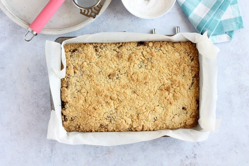 Mincemeat Crumble Slices out of the oven