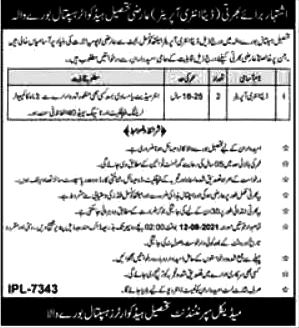 Tehsil Head Quarter Hospital  THQ Latest Jobs for Date Entry Operator DEO  2021