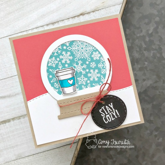Stay Cozy Snowflake and coffee Card by Amy Tsuruta | Snowfall Roundabout Stamp Set, Snow Globe Shaker Die Set, and Circle Frames Die Set by Newton's Nook Designs #newtonsnook #handmade