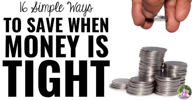 "Photo of coins with text, ""16 Simple Ways to Save When Money Is Tight."""