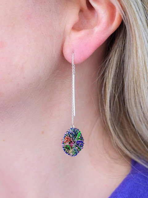 Rainbow earrings, chain earrings