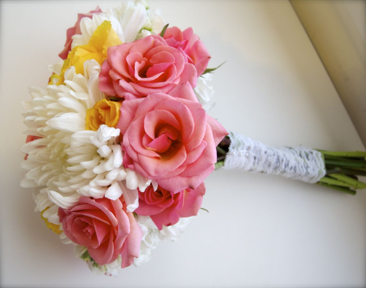 The Flower Girl Blog: White, Coral, And Yellow Bridal Bouquet