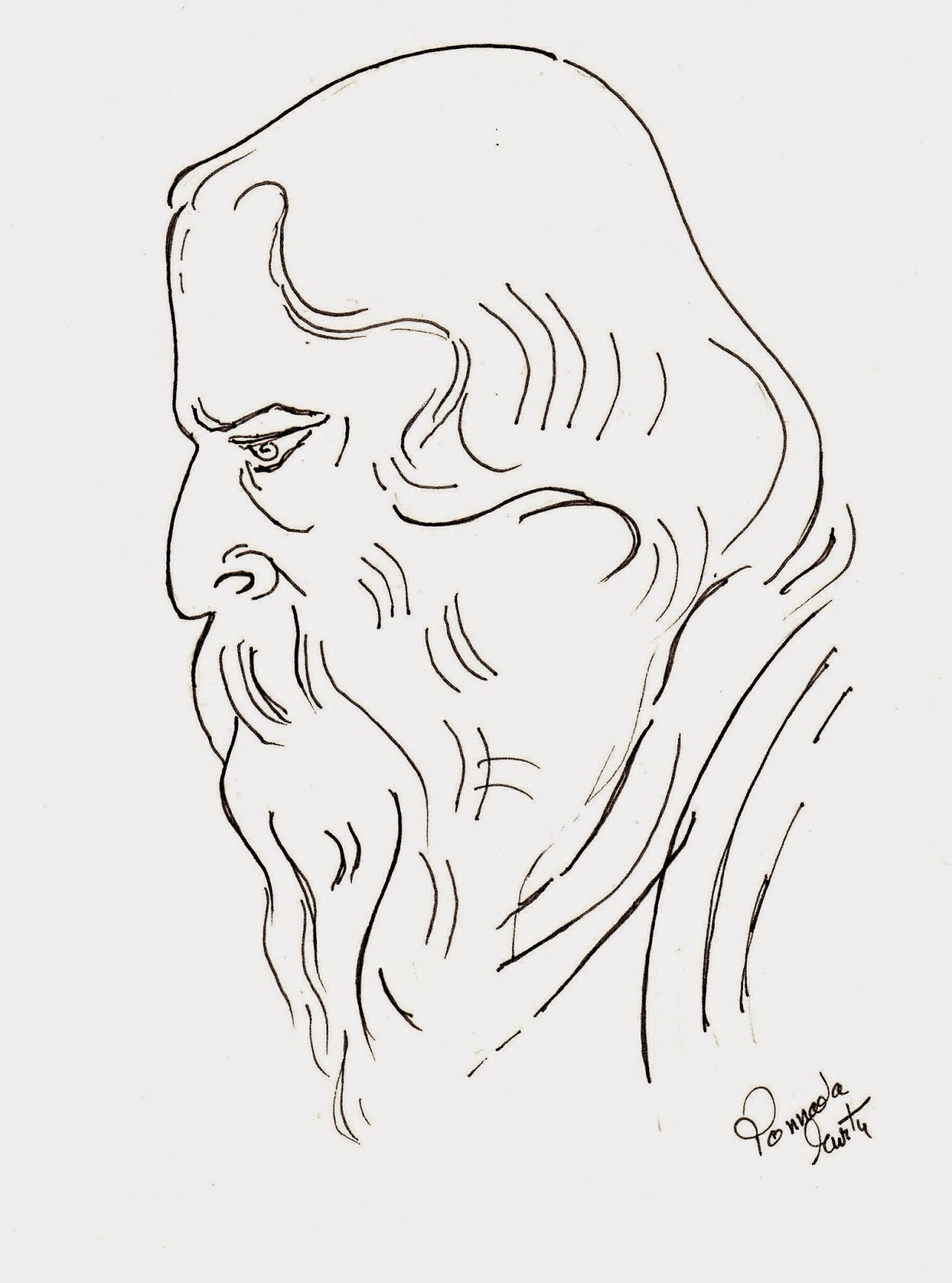 Sketches and Drawings : Rabindranath Tagore - line art