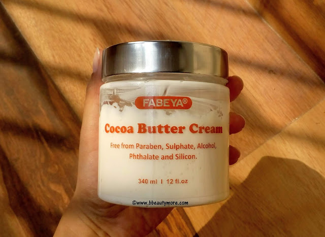 Fabeya Cocoa Butter Cream is a thick but light weight cream with buttery soft consistency. It is loaded with the goodness of cocoa butter which soothes and repairs itchy dry skin (specially) in winter. Also it is free from paraben, sulphate, alcohol, phthalate, silicone which is very good for dry skin as those ingredients are toxic and drying. This cream has the richness of a body butter but melts into the skin without any greasy feeling, leaving your skin super soft and plump. With the quantity provided for the price this Cocoa Butter Cream from Fabeya seems to be a good budget buy.