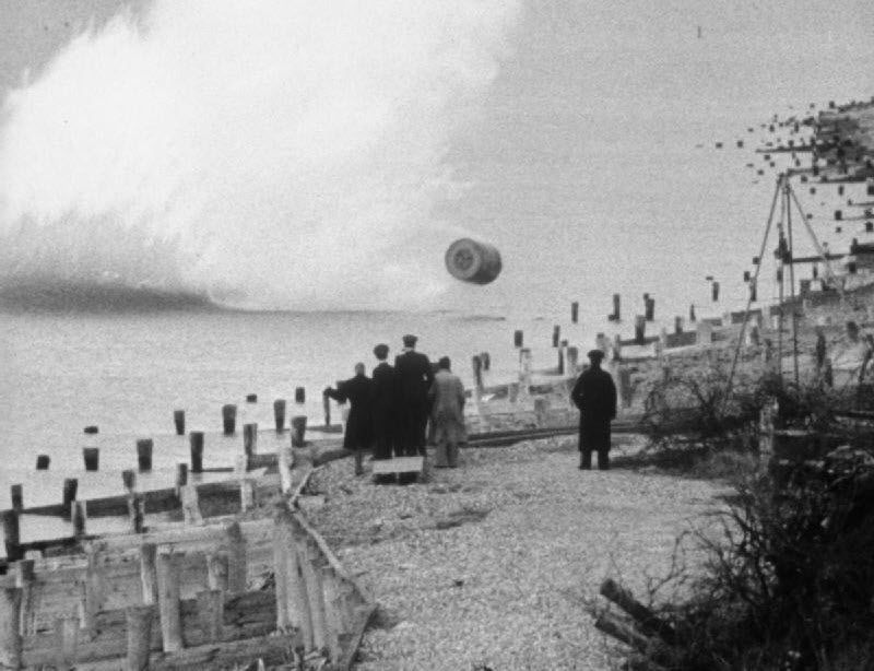 The bouncing bomb being tested at Reculver bombing range, Kent