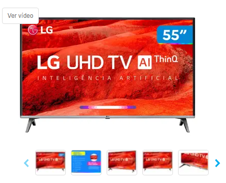 "Smart TV 4K LED 55"" LG com Wi-Fi HDR - Inteligência Artificial 4 HDMI 2 USB"