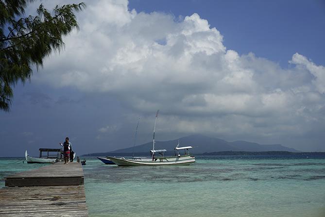 Dermaga kayu pulau sintok untuk menyandarkan kapal