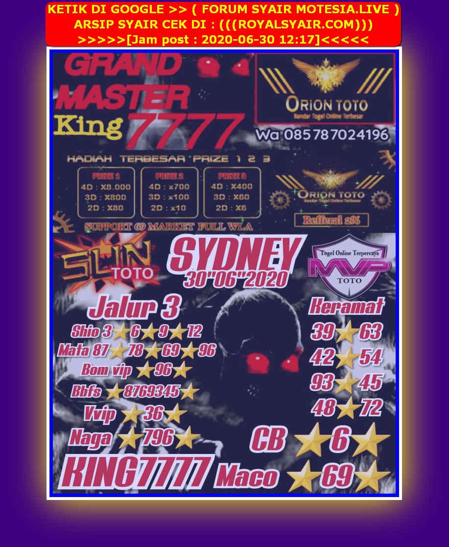 Kode syair Sydney Selasa 30 Juni 2020 10